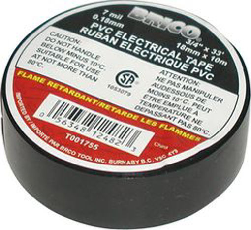 Picture of Tape PVC 3/4in x 66ft BLACK - No: T001801
