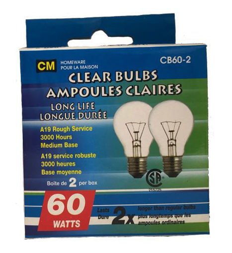 Picture of Bulbs Clear 60W 2Pk - No CB60-2CL