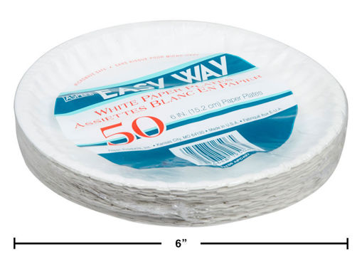 Picture of White Paper Plate Uncoated 50Pk 6In - No GM12506