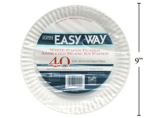 Picture of White Paper Plate Uncoated 9In 40Pk - No GM24040
