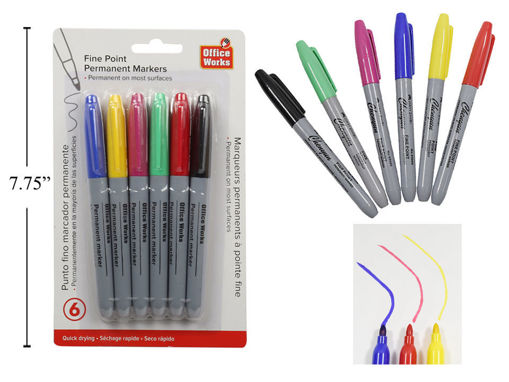 Picture of 6-Pc Permanent Markers 6 Colour - No 20500