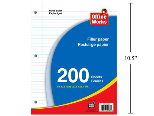 Picture of 200-Sheet 8inX10.5in Filler Paper - No 30034